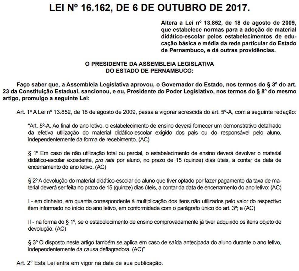 Lei foi aprovada no dia 6 de outubro de 2017 (Foto: Reprodução/Diário Oficial)