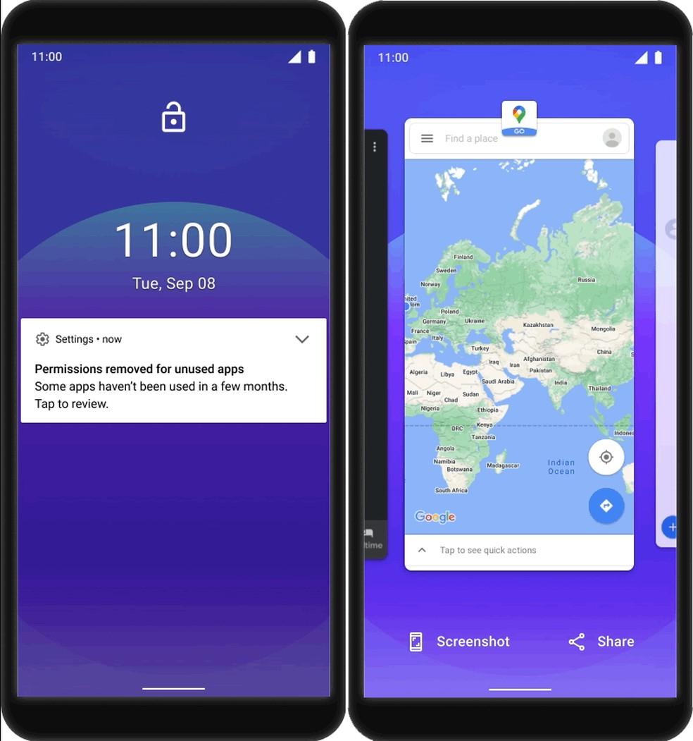 Android 11 Go terá gerenciamento de permissões aprimorado, além de navegação por gestos — Foto: Divulgação/Google