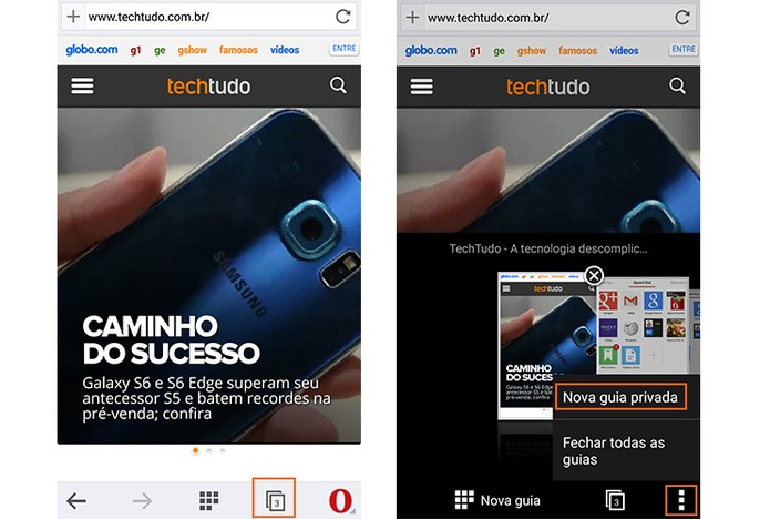 Guia privada no navegador Opera para Android (Foto: Reprodução/Barbara Mannara)