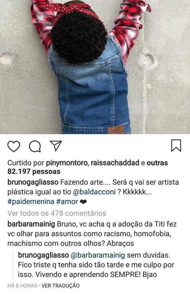 Bruno Gagliasso responde seguidora (Foto: Reprodução/Instagram)