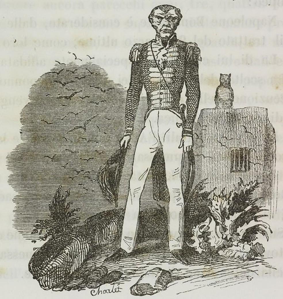 """O vilão perfeito, Hudson Lowe, em uma imagem que milhares conheceram porque ilustra """"O memorial de Santa Helena"""", de Emmanuel de Las Cases, de 1823, uma obra de tremendo sucesso — Foto: Getty Images/BBC"""