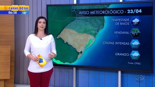 Inmet alerta para possibilidade de chuva forte na metade Sul do estado