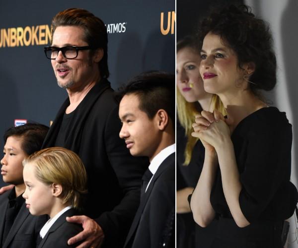 Brad Pitt com alguns dos filhos e sua namorada, a professora e arquiteta Neri Oxman (Foto: Getty Images)