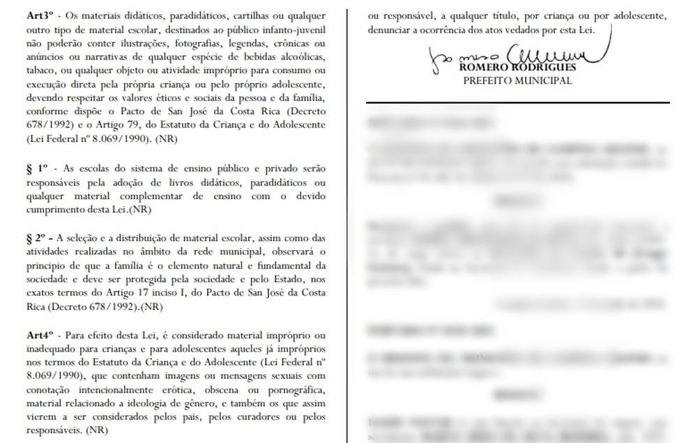 Lei foi sancionada pelo prefeito Romero Rodrigues e publicada no Semanário Oficial do Município (Foto: Reprodução/PMCG)