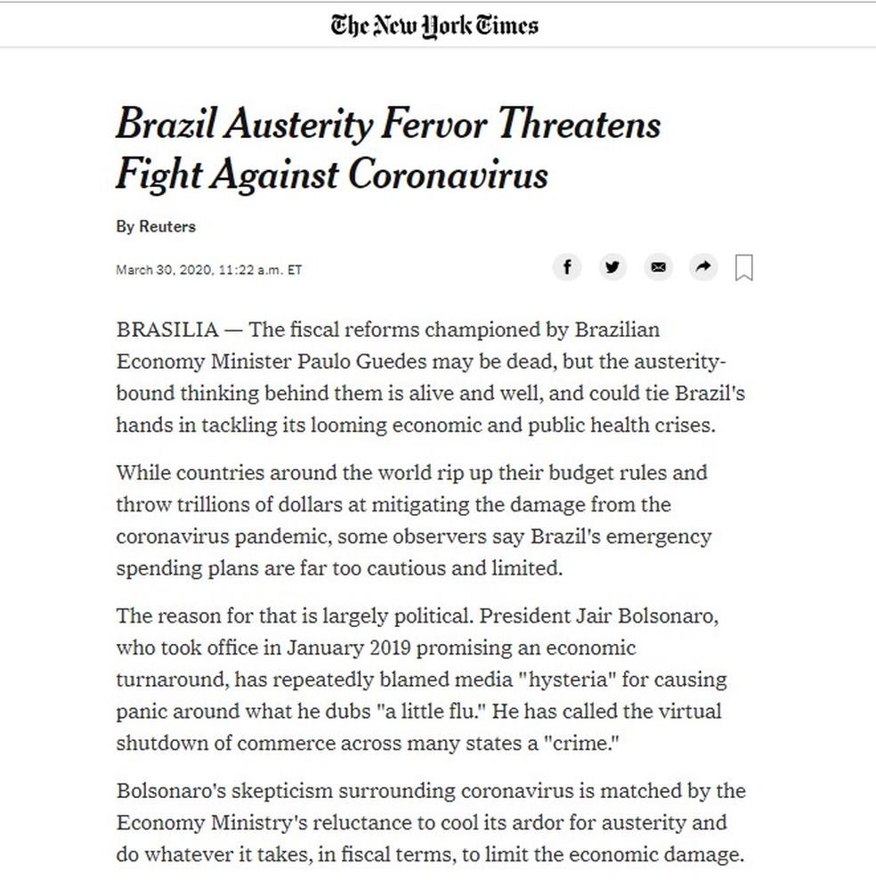 """Reprodução de página do """"The New York Times"""" sobre política para a Covid-19 no Brasil — Foto: Reprodução"""