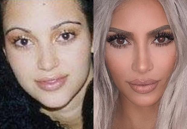 Kim Kardashian aos 17 anos e atualmente, aos 37 (Foto: Reprodução/Instagram)