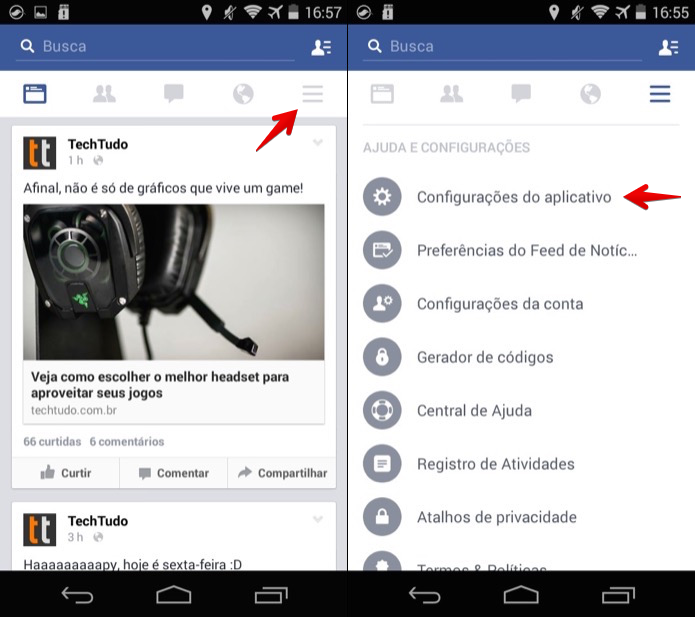 Acesse as configura??es do aplicativo do Facebook (Foto: Reprodu??o/Helito Bijora)