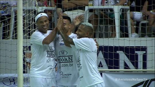 Os gols de Amigos do Zé Roberto 4 x 5 Amigos do R10 em amistoso