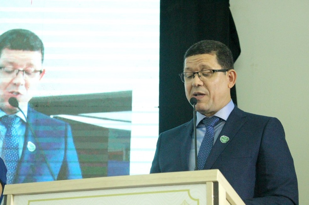 Coronel Marcos Rocha (PSL) discursou durante solenidade para entrega de diplomas a candidatos eleitos.  — Foto: Mayara Subtil/G1
