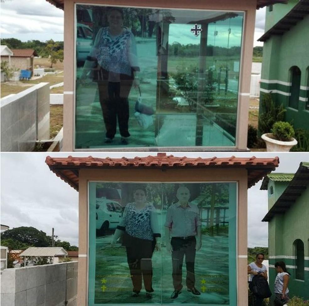 Foto do companheiro de Maria também foi ampliada e posta ao lado da mulher  (Foto: Genival Moura/G1/Arquivo e Anny Barbosa/G1)