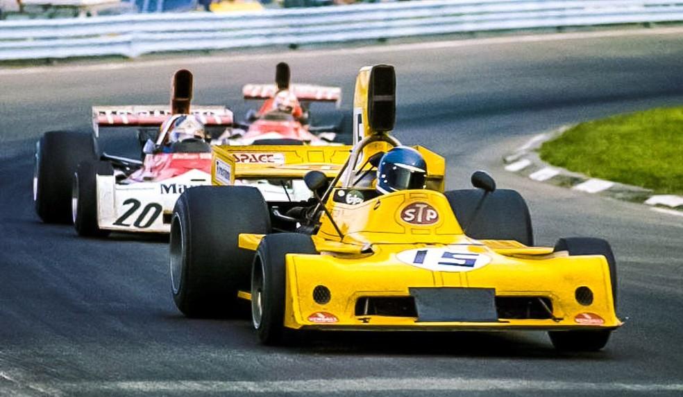 Beuttler à frente de Beltoise e Regazzoni em 1973 — Foto: Reprodução/rede social