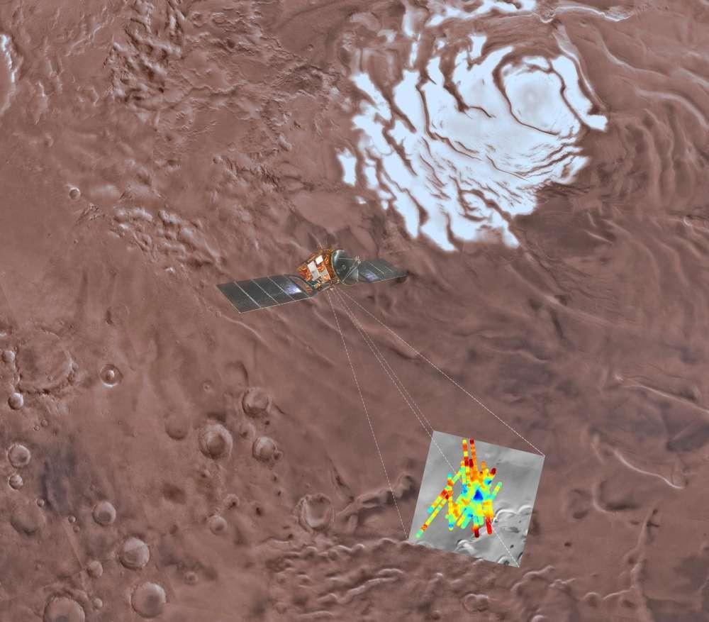 Ilustração do trabalho da sonda que detectou água em Marte (Foto: Divulgação/ESA)