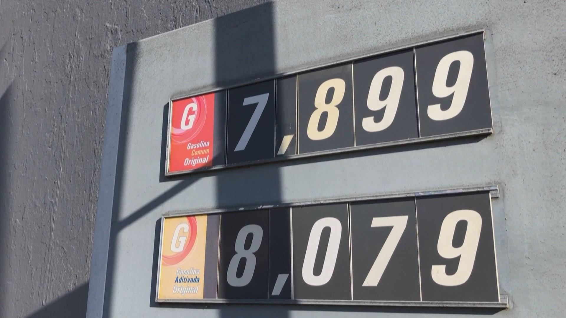 Após novo aumento, gasolina se aproxima de R$ 8 em Bagé
