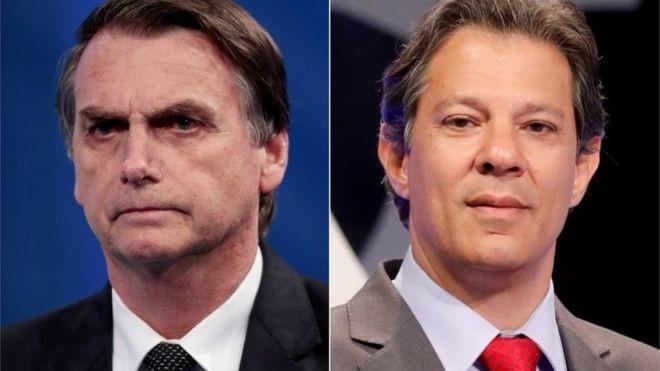 Jair Bolsonaro (PSL) e Fernando Haddad (PT) disputarão o 2º turno da eleição presidencial (Foto: Reuters via BBC News Brasil)