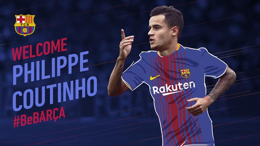 Barcelona anuncia Coutinho (Foto: Reprodução / Site oficial do Barcelona)