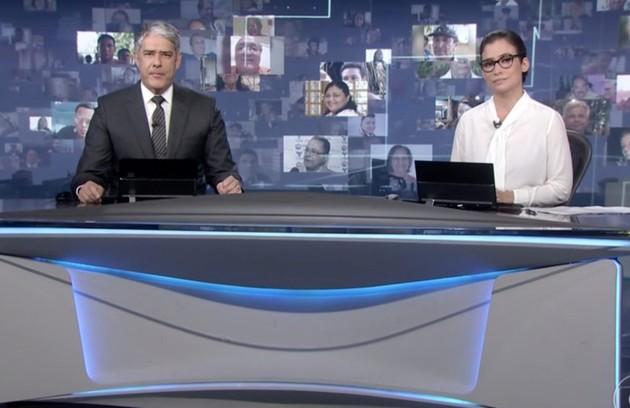 É impossível listar o que foi melhor na TV brasileira em 2020 sem falar do trabalho do jornalismo da Globo na pandemia. Os repórteres nas ruas pelo país todo e Renata Vasconcellos e William Bonner na bancada tiveram um papel social fundamental (Foto: TV Globo)