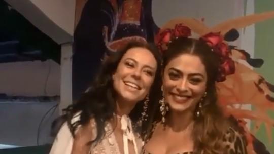 Paolla Oliveira é coroada por Juliana Paes como nova rainha de bateria da Grande Rio