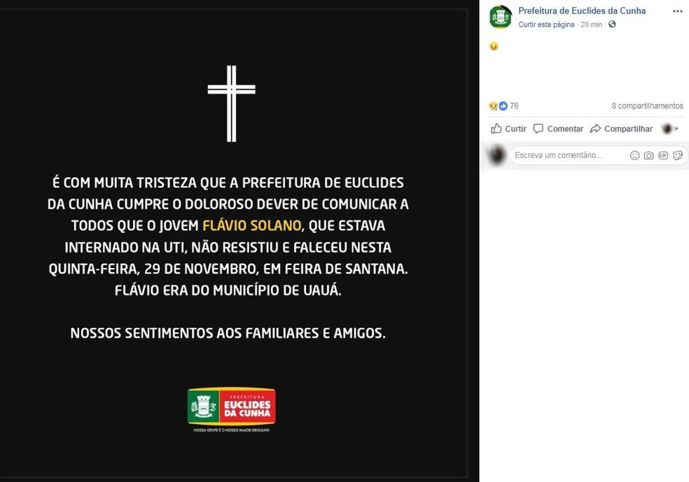 Prefeitura de Euclides da Cunha confirmou a morte de Flávio Solano — Foto: Reprodução/Redes Sociais