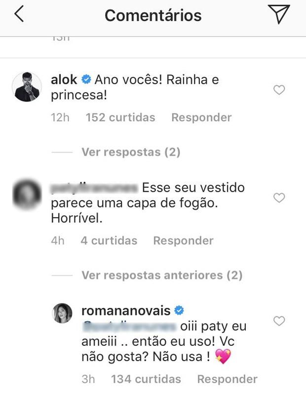 Resposta de Romana Novais (Foto: Reprodução/Instagram)