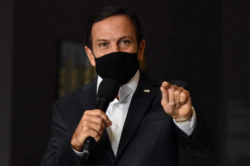 Governador João Doria anuncia medidas restritivas para combate à Covid — Foto: ROBERTO CASIMIRO/FOTOARENA/ESTADÃO CONTEÚDO