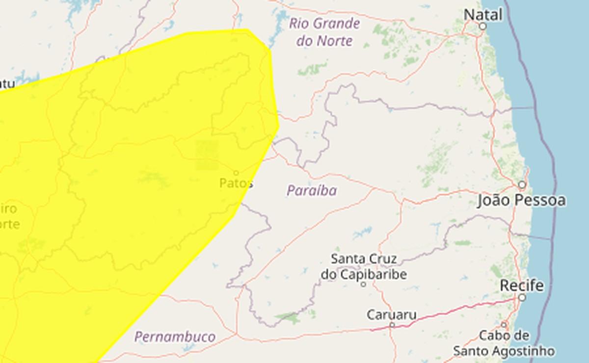 Inmet emite alerta amarelo de baixa umidade para 80 municípios da Paraíba; veja lista