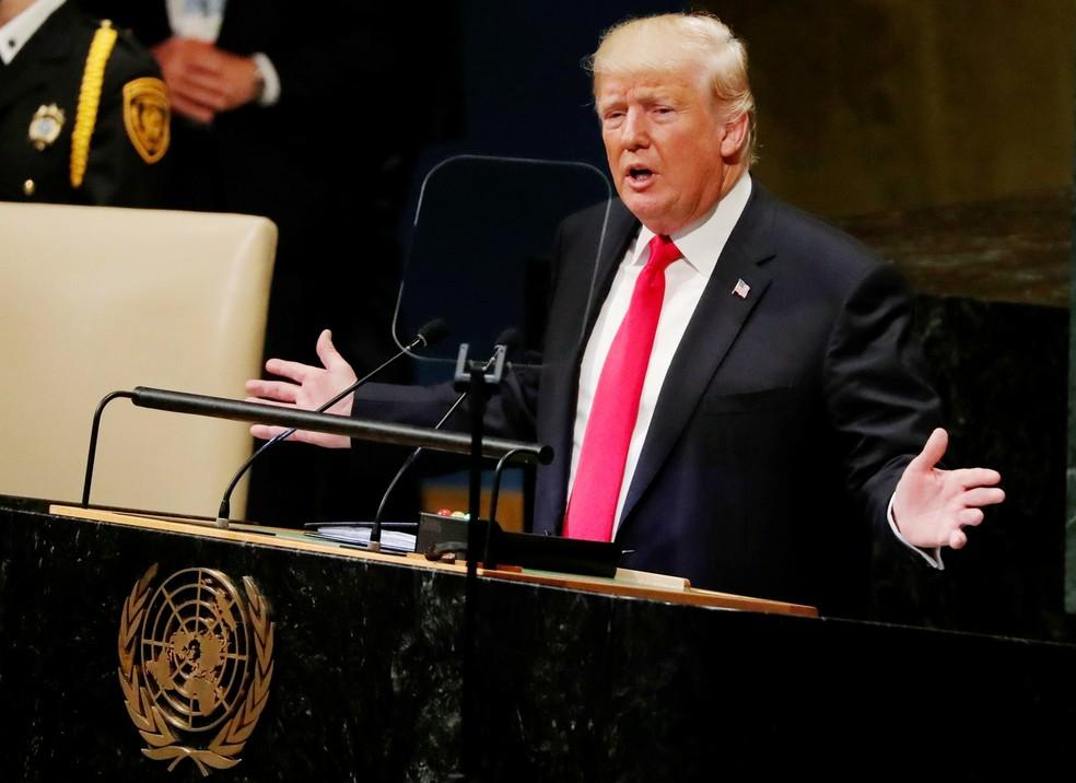 Trump na Assembleia Geral da ONU — Foto: Carlos Barria/Reuters