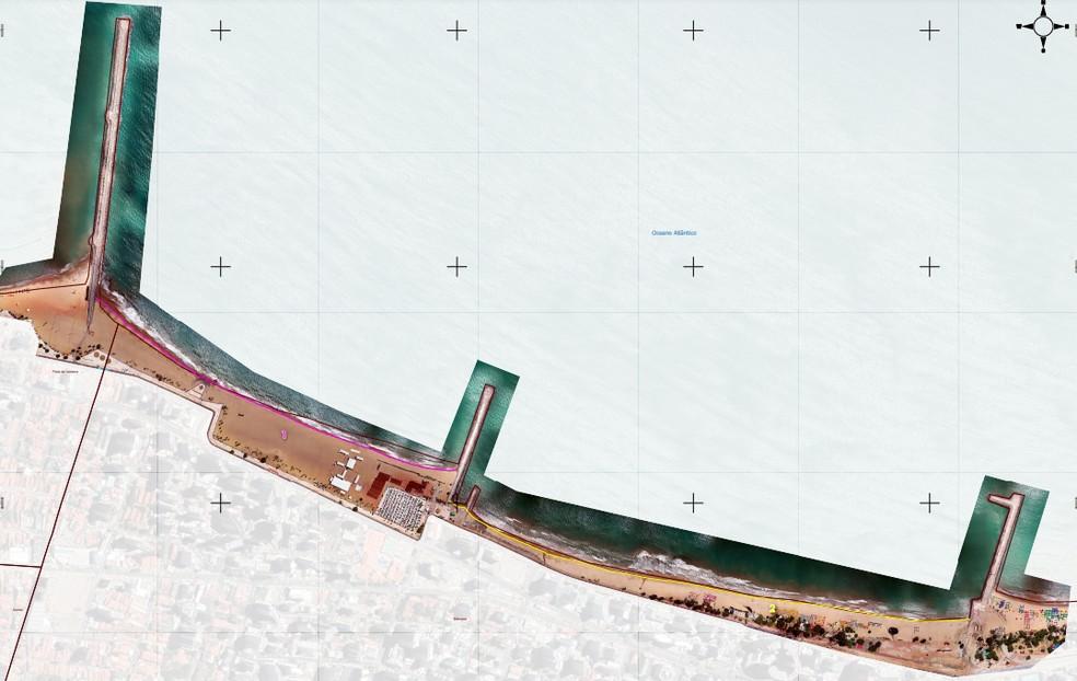 Imagem de 26 de agosto de 2019, antes do aterramento. Área da Praia de Iracema era de 77 mil m², da Beira Mar era de 53 mil m². — Foto: Reprodução/Adely Pereira Silveira, PPG em Geografia da UECE