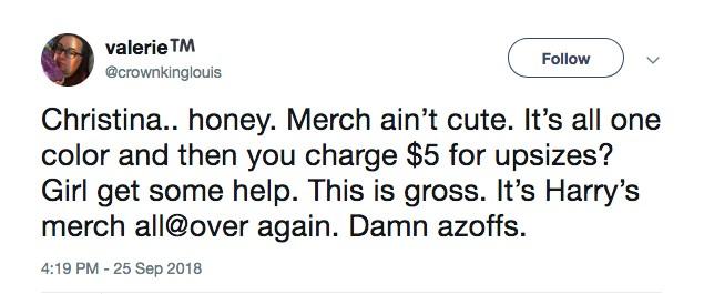 Uma crítica feita por uma fã da cantora Christina Aguilera sobre a taxa extra cobrada por ela pelas camisas plus size (Foto: Twitter)