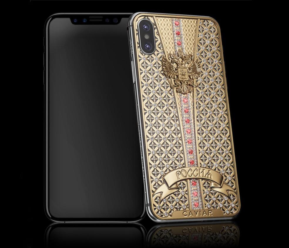 iPhone X de luxo possui traseira customizada com diamantes (Foto: Divulgação/Caviar)