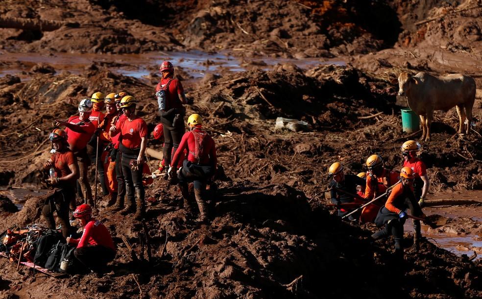 Membros da equipe de resgate trabalham na busca por vítimas em Brumadinho (MG) na segunda-feira (28) — Foto: Adriano Machado/Reuters