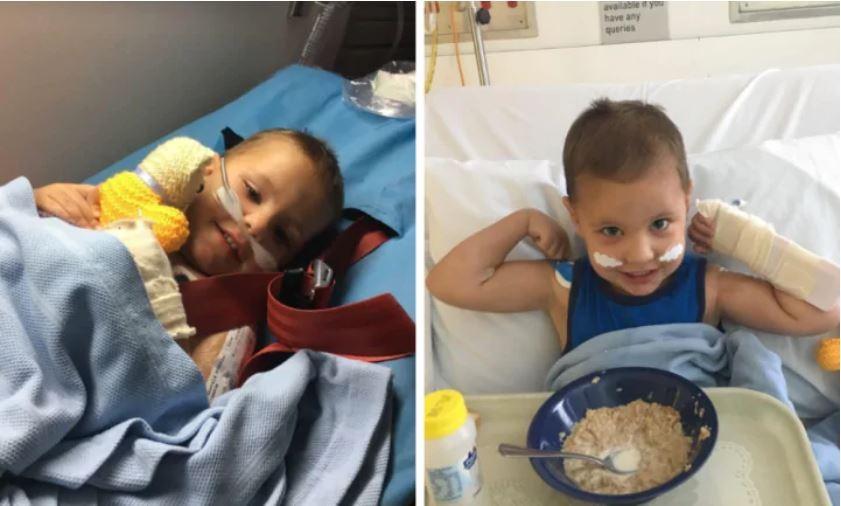 O pequeno Costa no hospital (Foto: Reprodução Facebook)