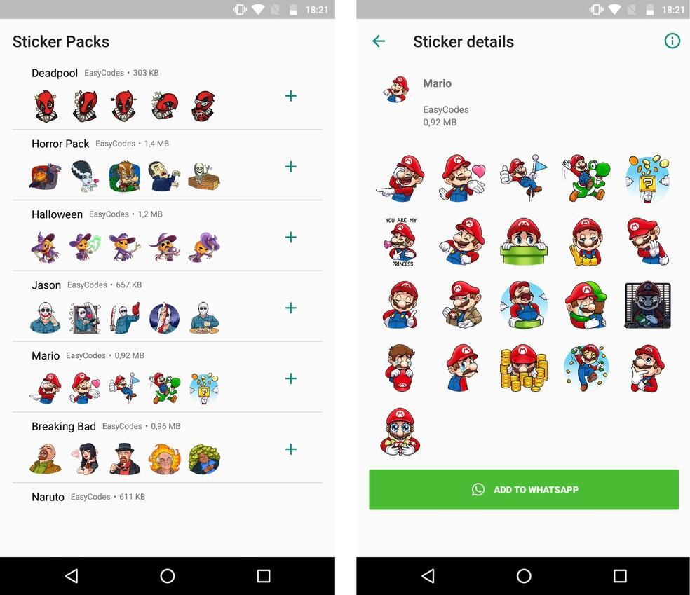 WAStickerApps tem adesivos de vários personagens famosos para usar no WhatsApp — Foto: Reprodução/Rodrigo Fernandes