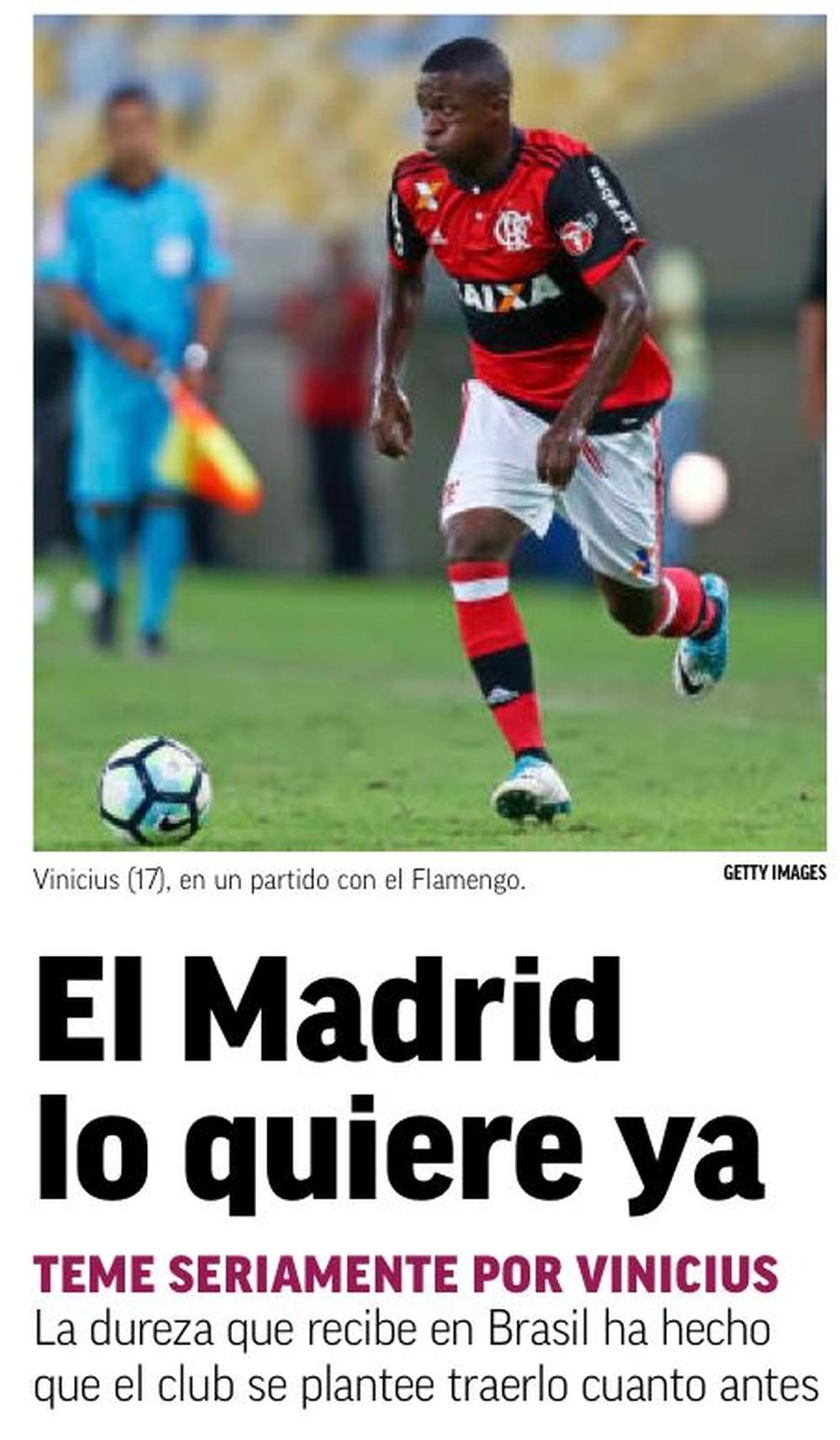 """Vinicius tem seis gols pelo Flamengo em 42 jogos (Foto: Reprodução jornal """"Marca"""")"""