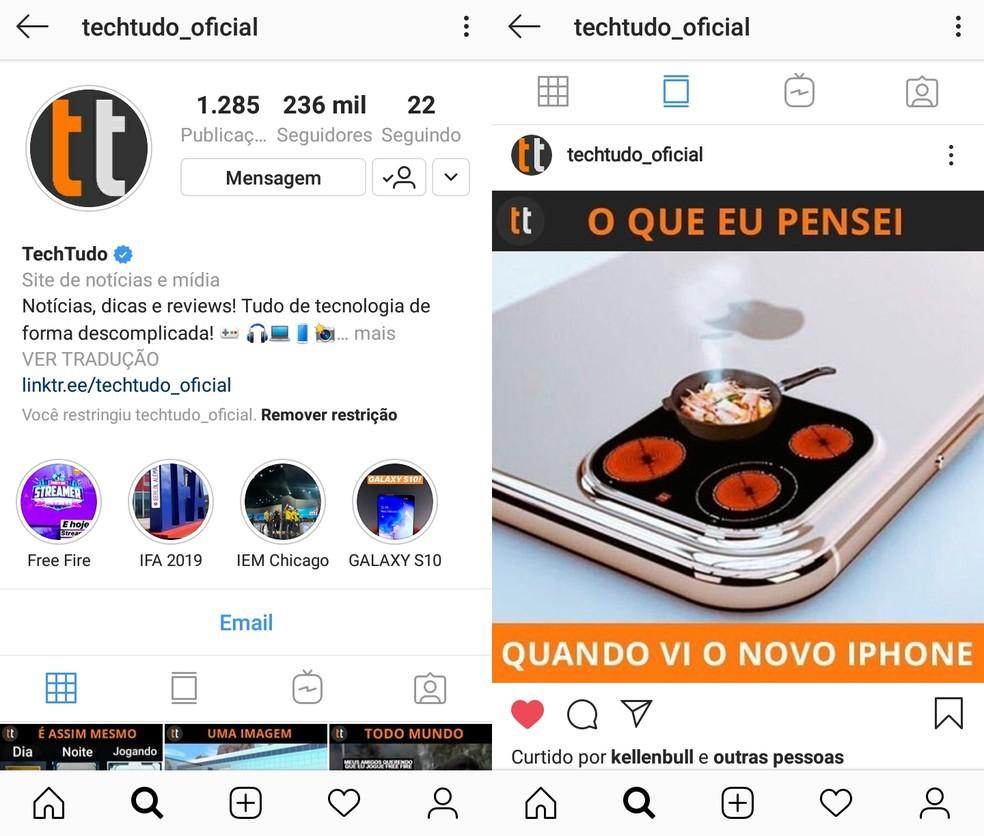 Posts de perfis restritos permanecem visíveis no feed do Instagram — Foto: Reprodução/Ana Letícia Loubak