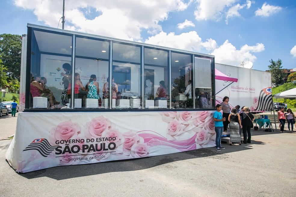 Carreta do programa 'Mulheres de Peito' realiza exames gratuitos de mamografia em Américo Brasiliense. — Foto: Divulgação