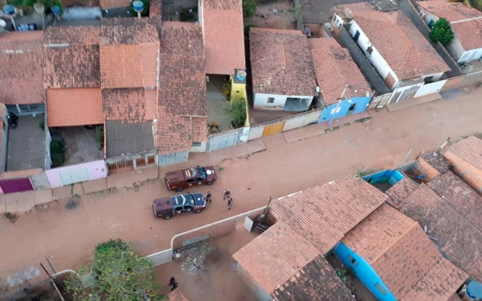 Imagem aérea da operação contra o tráfico de drogas no oeste da Bahia (Foto: Divulgação/SSP-BA)