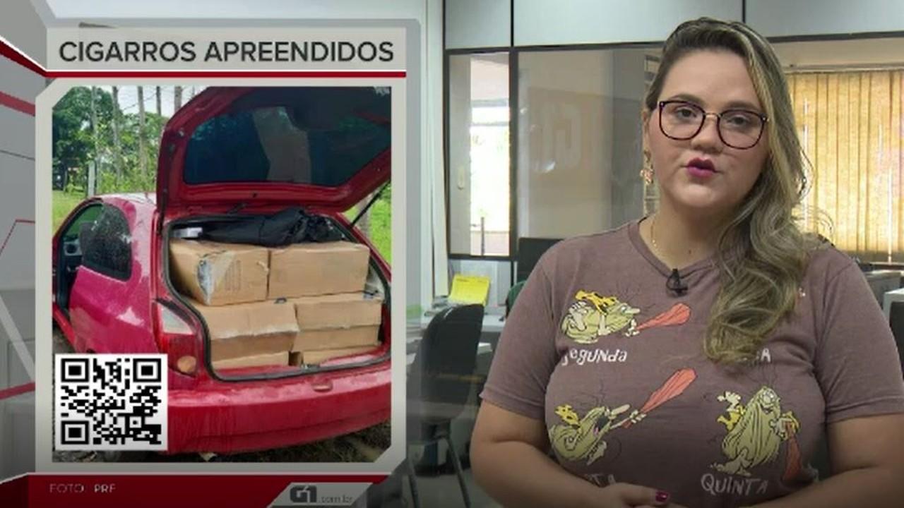 G1 em 1 minuto-AC: polícia apreende 700 maços de cigarros contrabandeados do Paraguai