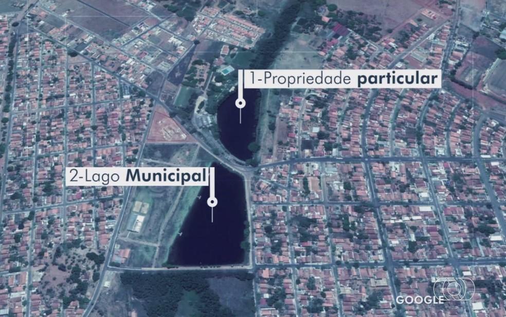 Lagos em Pontalina que, se se romperem, podem prejudicar moradores abaixo dessa região - quatro casas foram interditadas goiás — Foto: Reprodução/TV Anhanguera