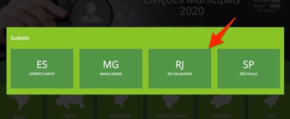 Ação para visualizar informações eleitorais de um estado brasileiro — Foto: Reprodução/Marvin Costa