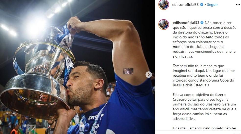 Edilson se despediu do Cruzeiro — Foto: Reprodução / Instagram
