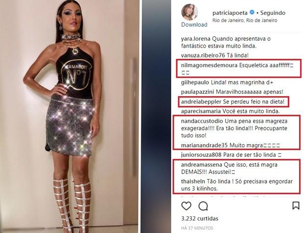 Patrícia Poeta recebe críticas pela magreza (Foto: Reprodução/Instagram)