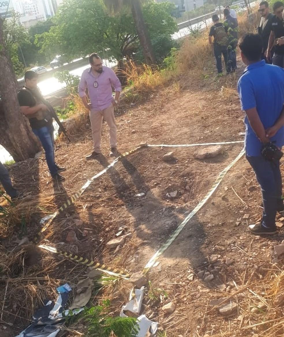 Local em que o corpo do jornalista foi encontrado em Cuiabá — Foto: Cinthya Rocha/ TVCA