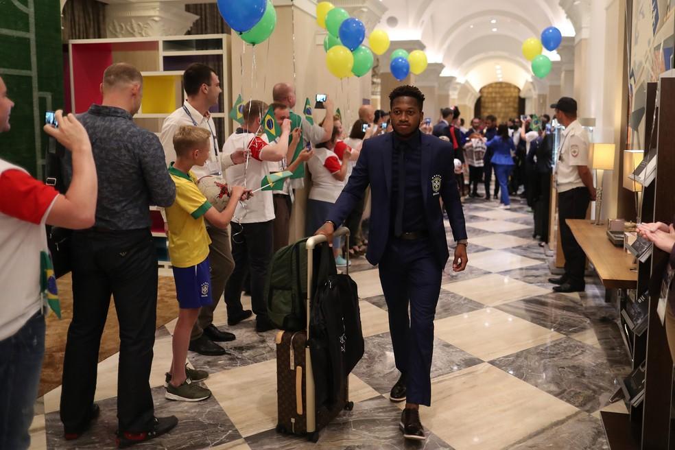 Fred é recebido com festa no hotel da seleção brasileira (Foto: Lucas Figueiredo/CBF)