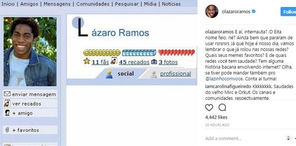 Lázaro Ramos no Orkut (Foto: Instagram/Reprodução)