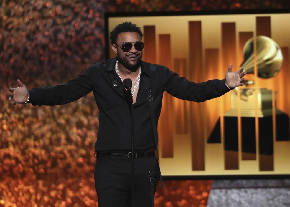 Rapper Shaggy apresenta prêmios em pré-cerimônia do Grammy 2019 — Foto: Matt Sayles/Invision/AP