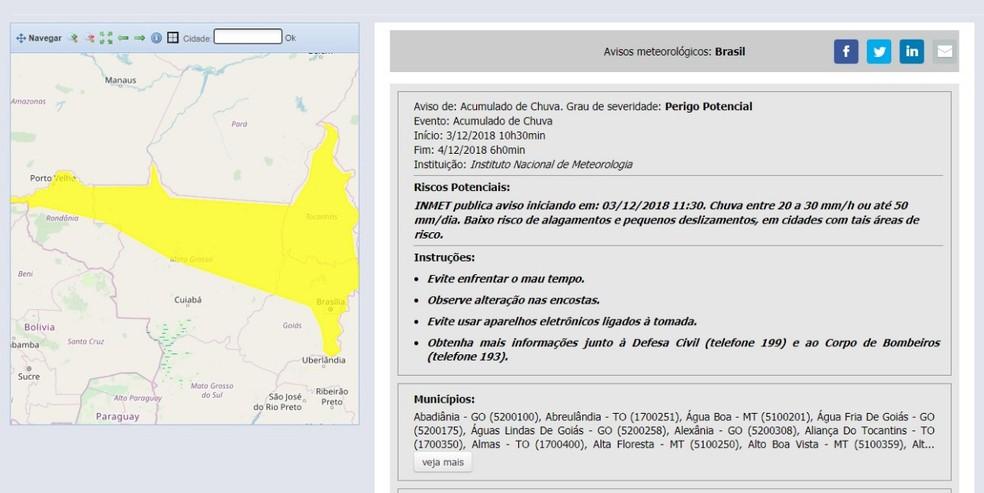Inmet emite alerta de potencial perigo em Rondônia e outros estados nesta segunda-feira (3).   — Foto: Reprodução/Inmet