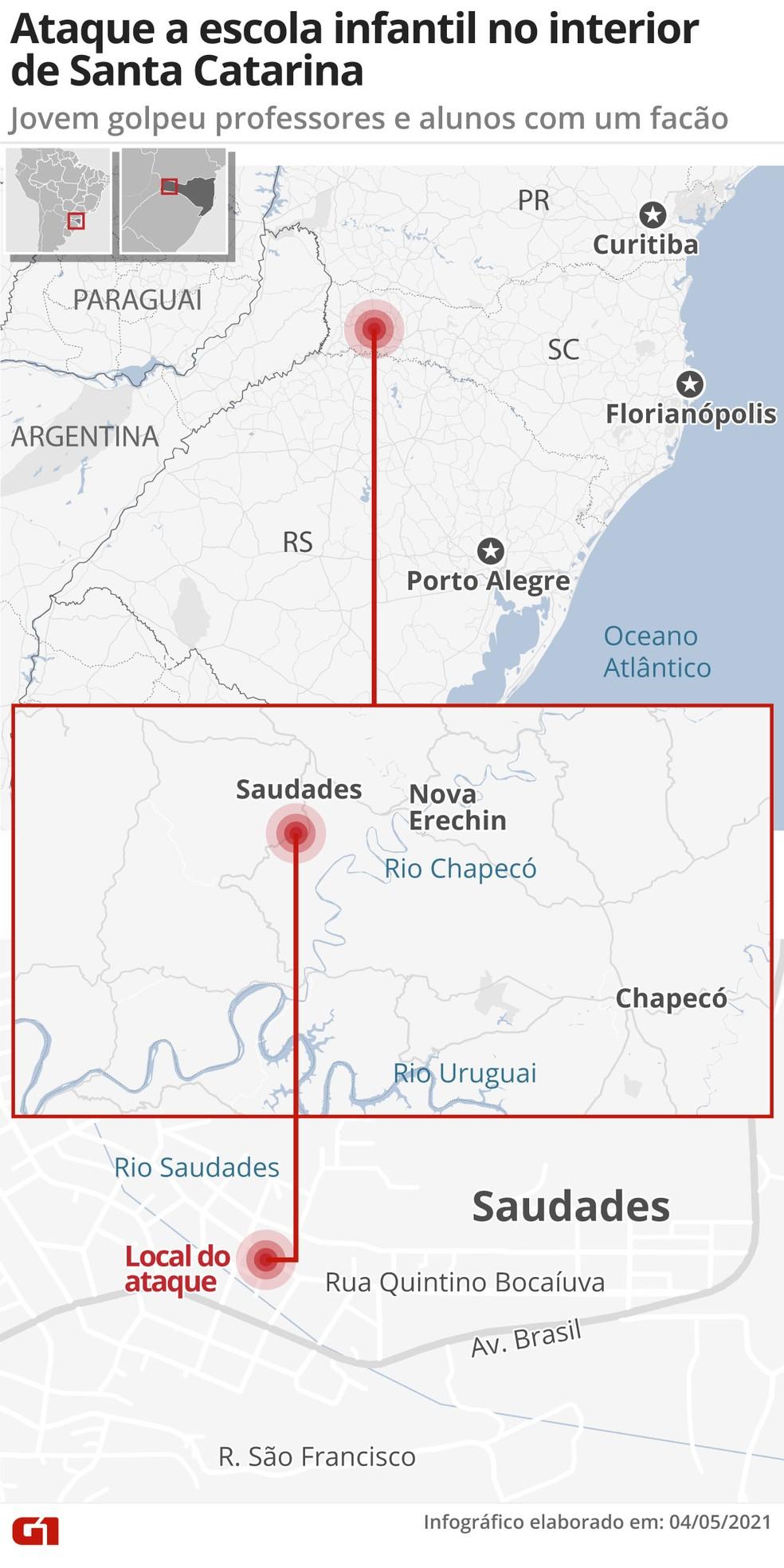 Atentado a creche em SC: infográfico mostra onde fica o estabelecimento em Santa Catarina — Foto: Editoria de arte/G1