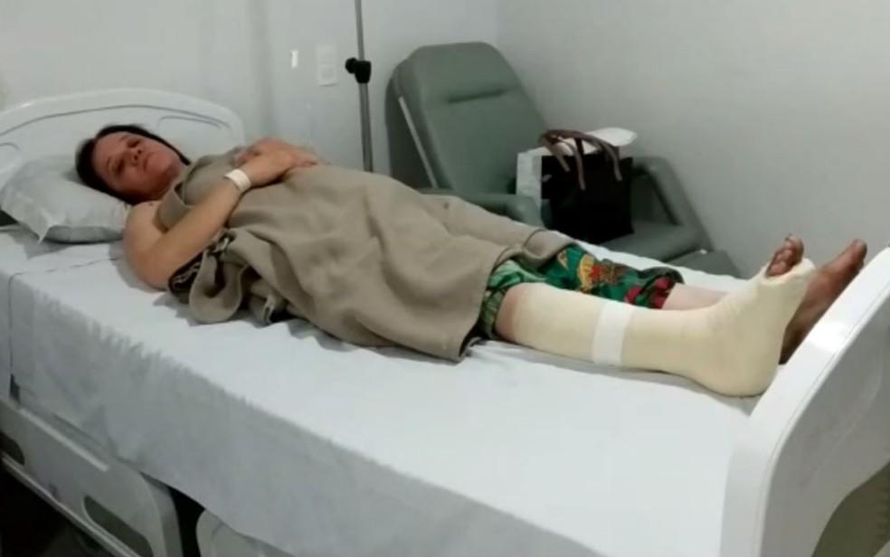 Tatiane está internada se recuperando das lesões sofridas durante o assalto — Foto: Lorena Gomes/TV Anhanguera