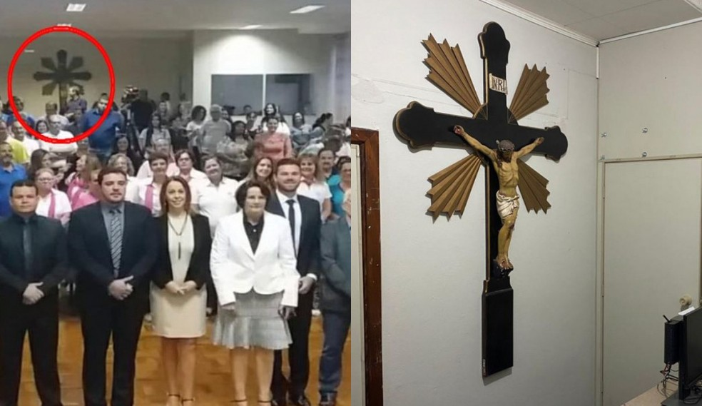 Retirada de crucifixo da Câmara de Pederneiras gerou polêmica nas redes sociais — Foto: Câmara de Pederneiras/Divulgação