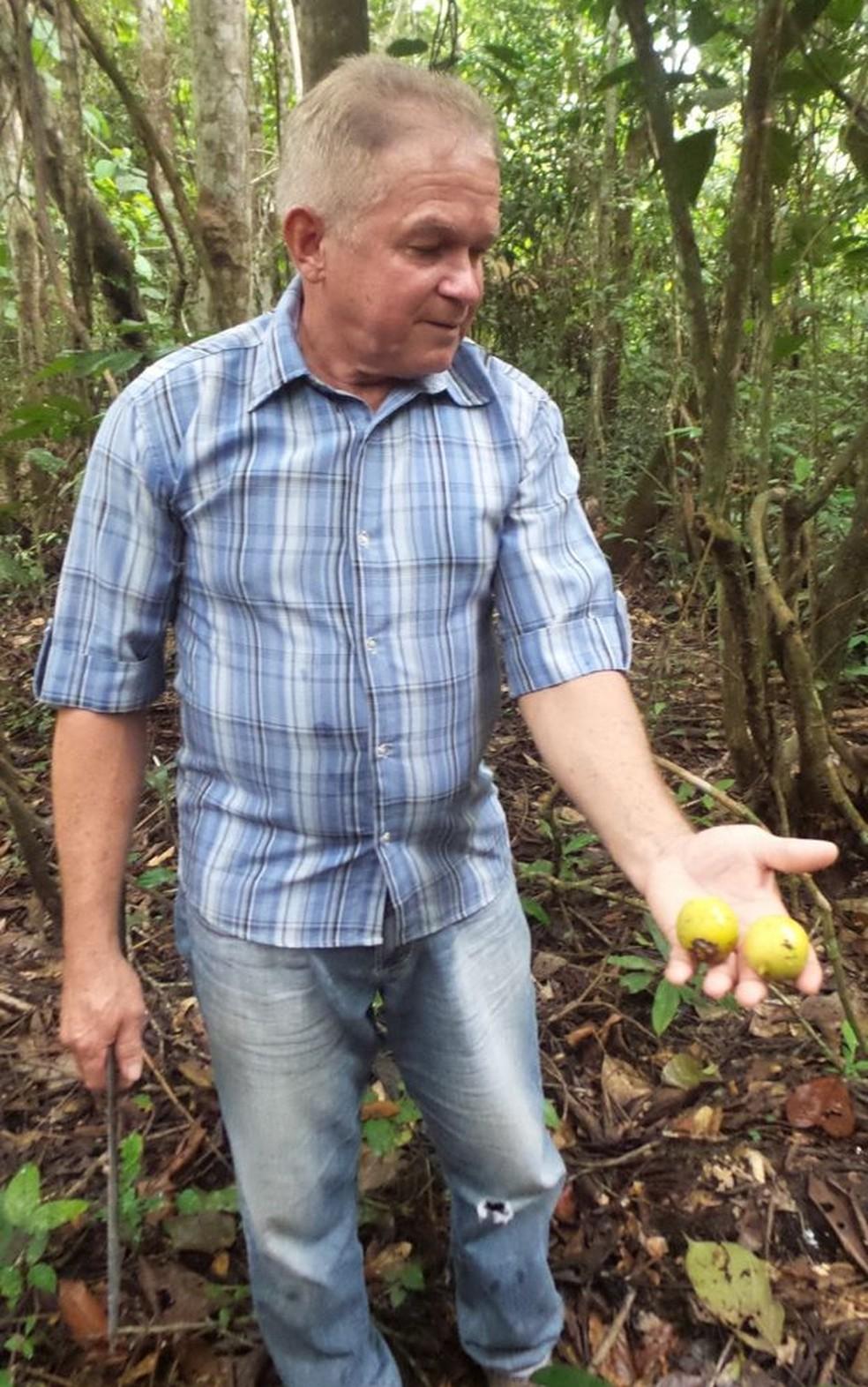 João do Mel com tucumã nas mãos: produtor se dedicou à produção de mel por mais de 40 anos — Foto: Elizabeth Oliveira